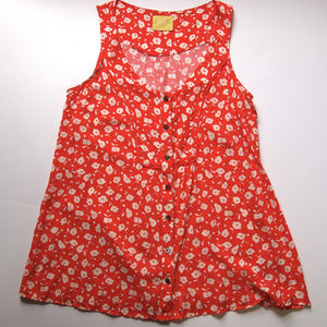 Red Floral Sleeveless Blouse By Maeve